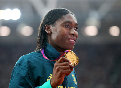 Semenya with her gold medal for the Women's 800m at the 2017 IAAF World Championships.