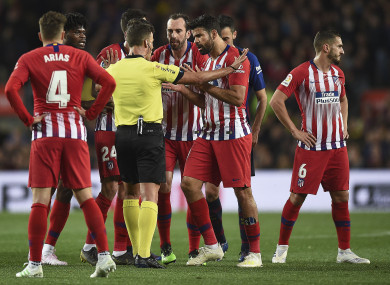 Costa was sent off against Barcelona.