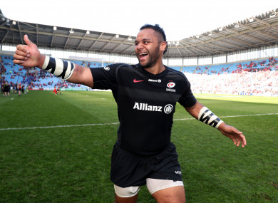 Billy Vunipola celebrates after Saturday's win against Munster.