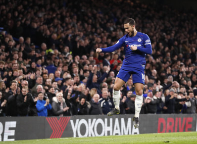 Eden Hazard celebrates Chelsea's second goal at Stamford Bridge.