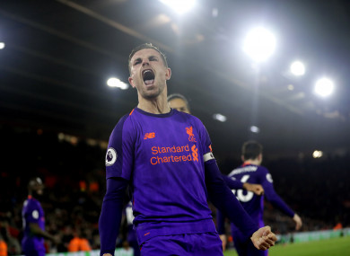 Henderson celebrates his late goal on Friday.