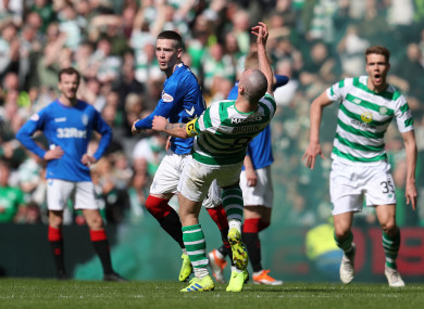 Ryan Kent clashes with Scott Brown.