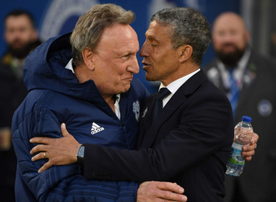 Hughton and Warnock after last night's clash.