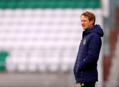 Ireland U17 manager Colin O'Brien watches his side play at Tallaght Stadium last year.
