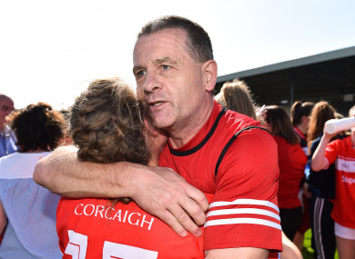 Cork manager Ephie Fitzgerald celebrates.