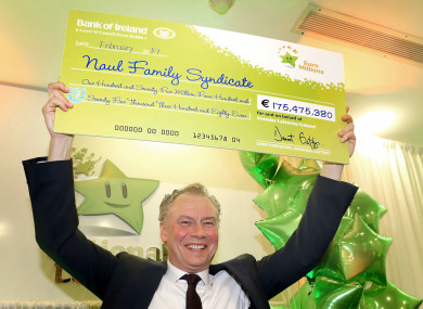 Dermot Griffin with the record €175.4 million EuroMillions cheque claimed last month.