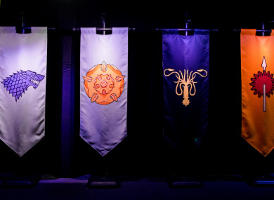 Banners carrying the sigils of House Bolton, House Stark, House Tyrell, House Greyjoy, House Martell, and House Arryn, on display at the launch of the Game of Thrones touring exhibition at the Titanic Exhibition Centre in Belfast.