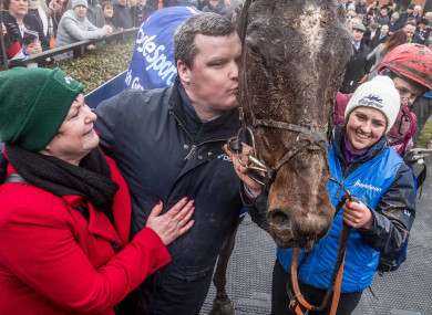 Gordon Elliott celebrates General Principle's victory in last year's Irish Grand National.