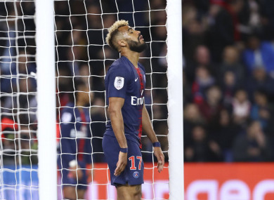 Choupo-Moting reacts after his incredible first-half miss.
