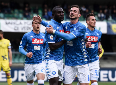 Koulibaly (centre left) scored twice to help Napoli to victory.