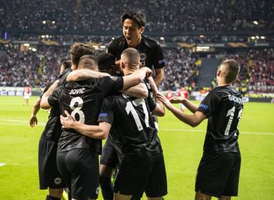 Frankfurt players celebrate.
