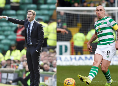 Rangers manager Steven Gerrard and Scott Brown of Celtic during Sunday's Old Firm derby.