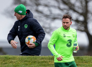 Mick McCarthy and Alan Judge on the training ground ahead of Ireland's recent games against Gibraltar and Georgia.