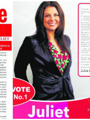 Labour candidate for Dún Laoghaire/Rathdown, Juliet O'Connell came under fire for using the likeness of the Dublin Gazette on leaflets distributed during her campaign.