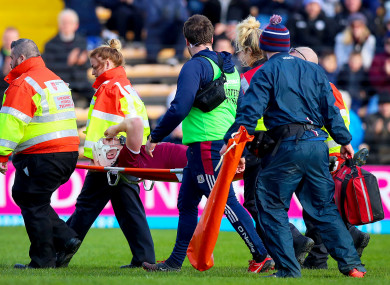Joe Canning was stretchered off against Waterford.