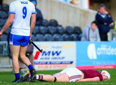 Canning after the collision with Kevin Moran in the league semi-final.