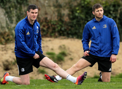File photo: Sexton and deputy out-half Ross Byrne in Leinster training