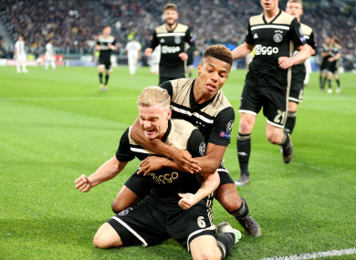 6faad6e8120 Ajax s Donny van de Beek celebrates scoring his side s first goal of the  game.