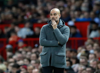 Pep Guardiola pictured on the touchline on Wednesday night.
