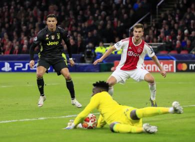Ronaldo put Juventus in front in Amsterdam.