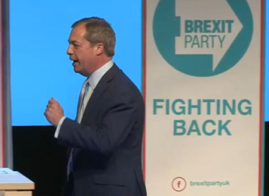 f60653d056f3 Nigel Farage speaks at Brexit Party's first rally, as crowd boos mention of  Macron and Obama