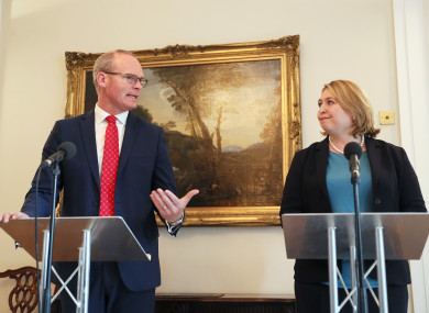 Tánaiste Simon Coveney and Northern Ireland Secretary Karen Bradley during a press conference in Stormont, Belfast yesterday