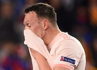 Phil Jones pictured during the Barcelona game.