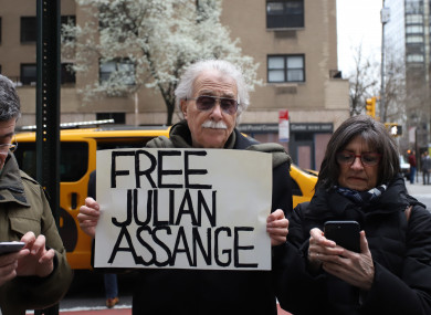 Pro Julian Assange protesters demonstrate in front of the British Embassy in New York