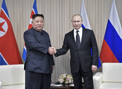 Russian President Vladimir Putin and North Korea's leader Kim Jong Un