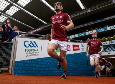 Ronan Burke (centre) representing Galway in Croke Park.