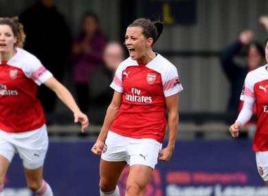 Match-winner Katie McCabe celebrates scoring yesterday.