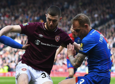 Aidan Keena (left) playing for Hearts in last weekend's semi-final win over Inverness Caledonian Thistle.