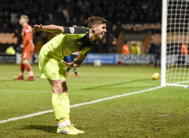 Ryan Christie celebrates after finding the target for Celtic.