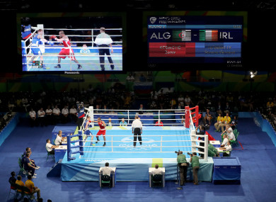 General view of Stephen Donnelly's fight with Zohie Kedache at the 2016  Olympics.