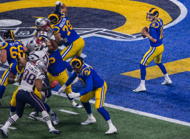 The LA Rams against the New England Patriots in the Super Bowl earlier this year.