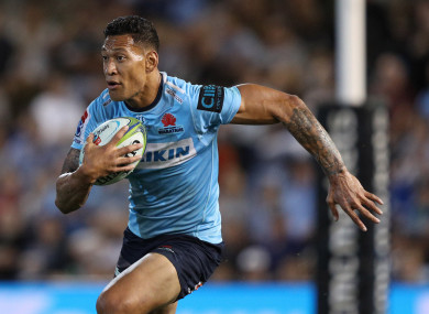 Israel Folau of the Waratahs (file pic).