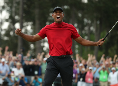 Woods after claiming the Masters earlier this month.