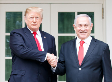 Donald Trump shakes hands with Israeli Prime Minister Benjamin Netanyahu earlier this year.