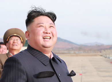 An image from the North Korean Official News Service showing Kim Jong Un overseeing defensive manoeuvers by pilots