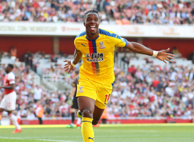 Wilfried Zaha celebrates his goal against Arsenal