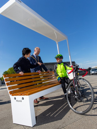 (l to r) Andrée Dargan, County Architect, Councillor Ossian Smyth and Donal Murphy, who stopped on his cycle home to try out the bench