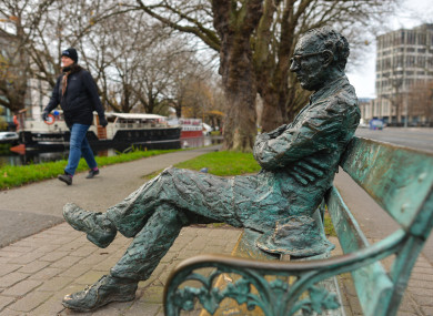 A photo of the Patrick Kavanagh statue along the Grand Canal in Dublin.