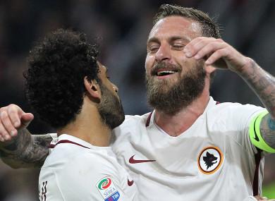 Mo Salah (left) and Daniele De Rossi were team-mates at Roma.