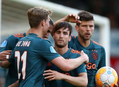 Ajax celebrate Nico Tagliafico's goal