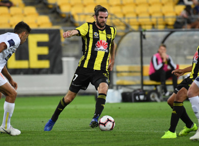 Cillian Sheridan playing for Wellington Phoenix against Central Coast Mariners in January.