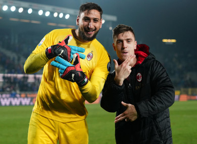 Donnarumma's penalty save helped Milan to victory on Sunday.