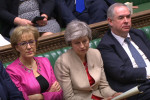 Andrea Leadsom sitting alongside Theresa May in the House of Commons.