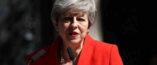 Prime Minister Theresa May speaking outside 10 Downing Street this morning.