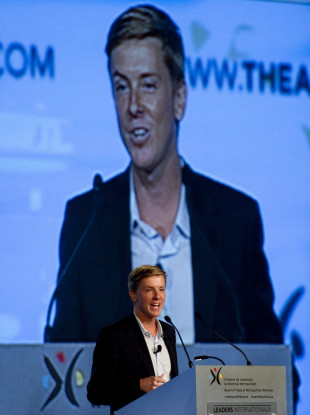 Chris Hughes, the co-founder of Facebook, delivers a speech in Montreal (2011).