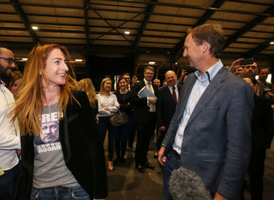 Clare Daly and Barry Andrews at the count centre today.
